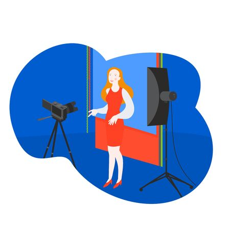 Filming video for internet blogger. Cartoon tv host woman in studio. Recording media content and shooting photography Ilustracja