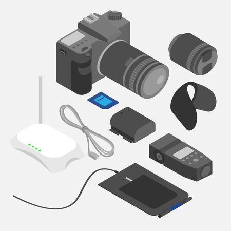 Isometric computer devices. Design and photography tools, Photostudio equipment set. Photo camera, lens, flashlight and battery. Graphic tablet and router