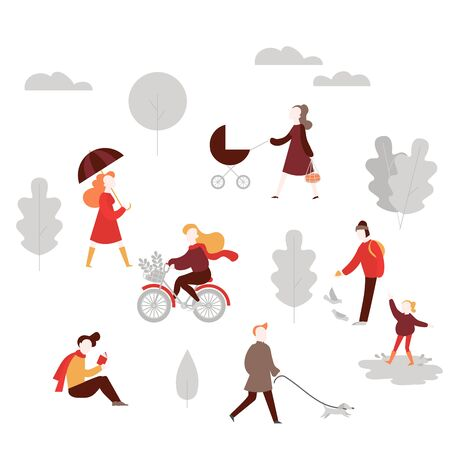 Fall activity in forest. Cartoon People in autumn public park walking dog, riding bicycle, feeding birds, jumping on puddle, woman with stroller