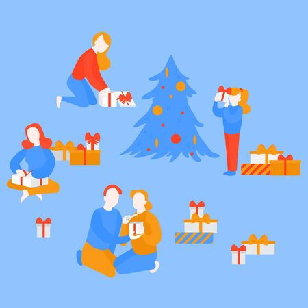 Holiday season. Christmas party. Girl open package, child unpacking present. Woman getting gift box from man. Cartoon couple celebrate New Year