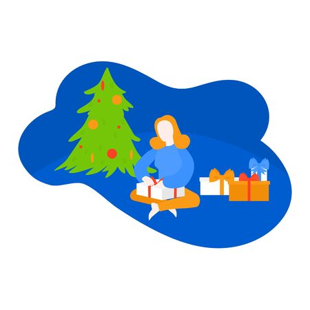 Kid unpacking present, Girl open package. Woman getting gift box under Christmas tree. New Year season. Ilustracja