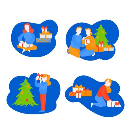 Girl open package, child unpacking present. Girlfriend getting gift box from boyfriend. Cartoon couple celebrate New Year. Holiday season. Christmas party Ilustracja