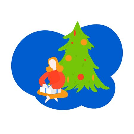 Christmas season and New Year celebration. Cartoon Girl open package, Kid unpacking present. Woman getting gift box