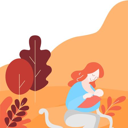 Support Breastfeeding in public place. Help for nursing moms. Cartoon Woman with newborn in park. Lactation and Feeding with breast milk