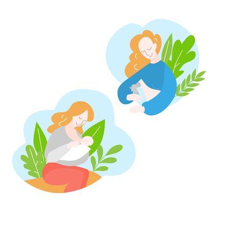 Mother during breastfeeding newborn baby. Position for feeding. Motherhood and childhood. Cartoon Woman pumps breast milk