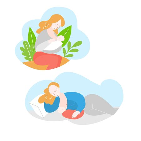 Mother during breastfeeding. Position for feeding baby. Support of Breastfeeding and motherhood. Cartoon Woman with newborn