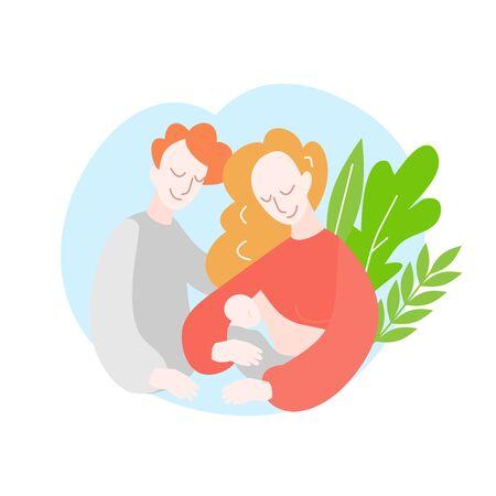 Cartoon Mother with newborn baby. Support of Breastfeeding and motherhood
