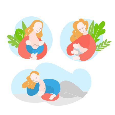 mother during breastfeeding twins. Position for feeding newborn baby. Support of Breastfeeding and motherhood. Cartoon Woman pumps breast milk Stock Illustratie