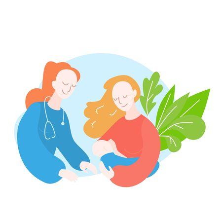 Pediatrician. Lactation consultant. Breastfeeding Stock Illustratie