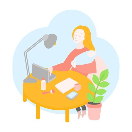 Mother freelancer. Stay at home working Mom office. Self-isolation, Business woman working on a laptop with her baby. Education online service Stock Illustratie