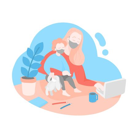 Home work office for coronavirus quarantine. Self isolation and social distancing. Woman working safely online. Mother freelancer with toddler. Mom works on laptop with her baby.