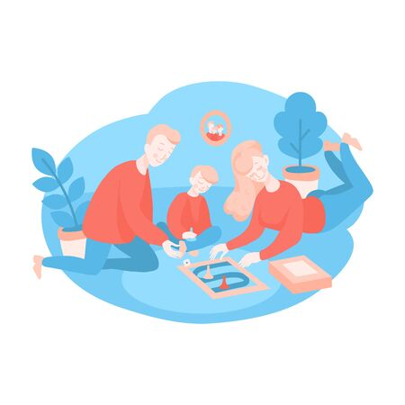 Cartoon People playing a board game with cards. Family spend time together at home during quarantine. Self-isolation activity and Indoors hobby for kids Stock Illustratie