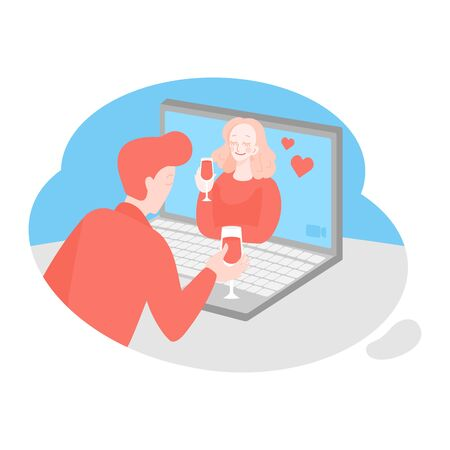 Online date, virtual love, long distance relationship. Dating app. Cartoon couple talking during quarantine. Connection with isolated partner