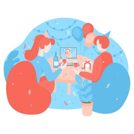 Online birthday celebration in isolation. Cartoon People on Quarantine with glasses of wine during party. Concept of communications in self isolation. Holiday decoration Confetti and balloons.