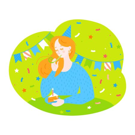 Birthday greeting card and poster. Lonly cartoon girl with piece of cake with candle. Concept of loneliness on Quarantine