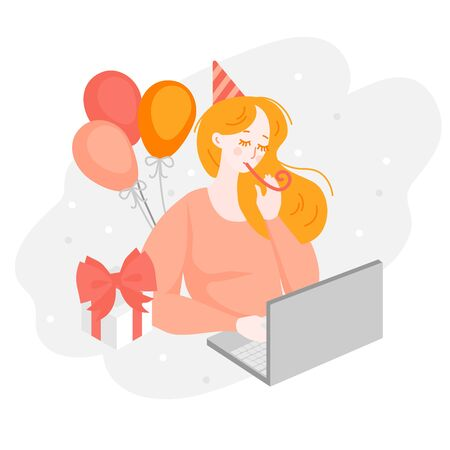 Online Birthday party. Lonly cartoon girl celebrate anniversary. Woman character during quarantine. Concept of loneliness Illusztráció