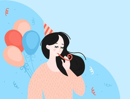 Birthday party greeting card and poster. Lonly cartoon girl celebrate anniversary. Woman character. Concept of loneliness