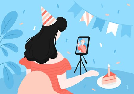 Online Birthday celebration. Cartoon couple talking during quarantine, long distance relationship. Virtual video call. Greeting card and poster