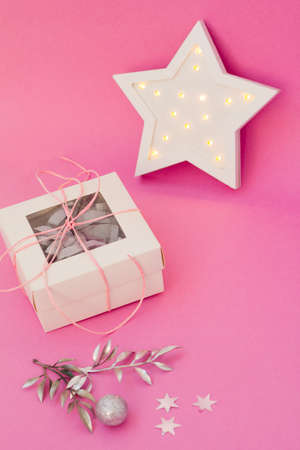 Cute christmas card, gift box and new year decoration. Packaging design and holiday decor.