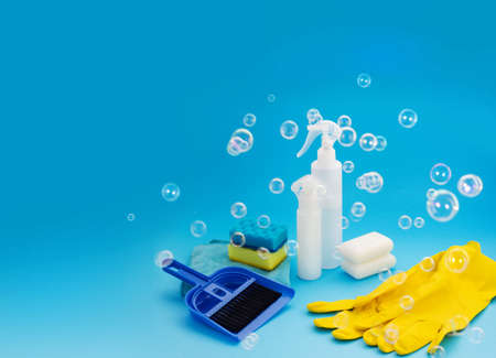 Cleaning product for housework. Housecleaning chores. Household chemicals products. Housekeeping equipment Фото со стока