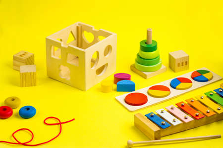 Ecologic Wooden colorful stacking toy, blocks, puzzle, xylophone and lacing. Games for kids.