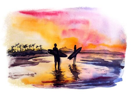 watercolor sea sunset illustration with surfers