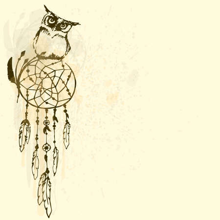 Dreamcatcher with an owl on a beige background. Drawing of a bird. Watercolor painting. Stock vector.