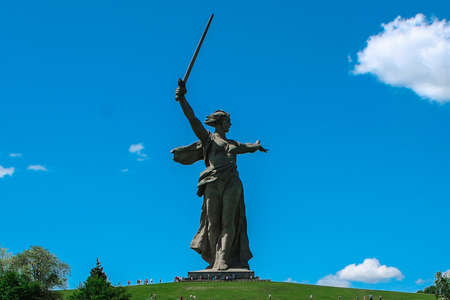 Sculpture Motherland is calling. Mamaev Kurgan Volgograd. The memorial complex the Battle of Stalingrad 1941-1945. Monument to the Soldiers of the Liberators Editorial