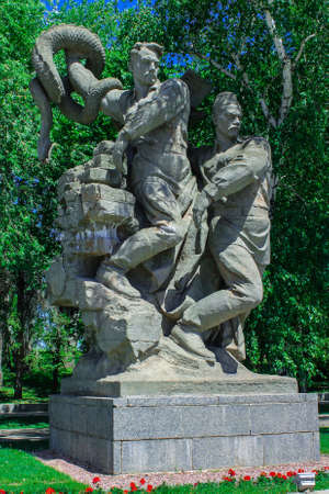 The lake of tears. Sculptures of soldiers - heroes. Mamaev Kurgan Volgograd. Height 102. The memorial complex the Battle of Stalingrad 1941-1945. Monument to the Soldiers of the Liberators