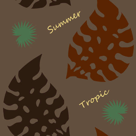 Exotic tropical verctor background with hawaiian plants. Seamless tropical pattern with summer lettering and palm leaves
