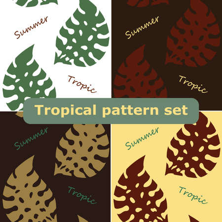 Exotic tropical vector background with hawaiian plants set. Seamless tropical pattern with summer lettering and palm leaves. 矢量图像