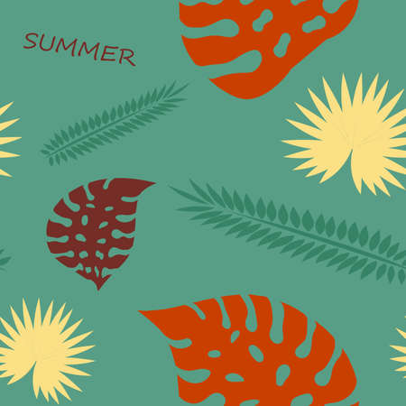 Palm leaves seamless pattern. Hawaiian tropical leaves on a dark background 矢量图像