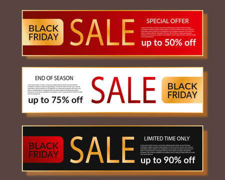Black Friday Sale Horizontal Banner set. Luxury design with gold, red and black color. Poster with place for text. Social media template for website and mobile website development. Lux business promo Vektorové ilustrace