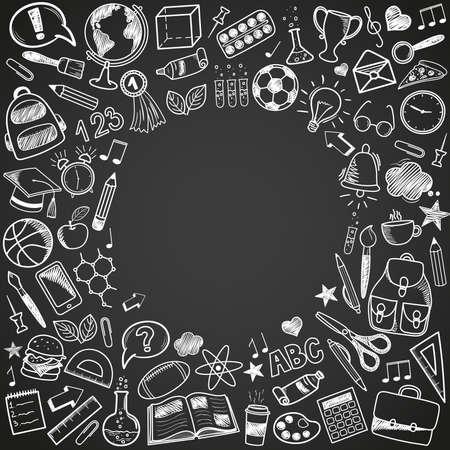 retour à l & # 39 ; école - croquis doodle ensemble . différents articles de l & # 39 ; école dessinés à la main ainsi de feu ainsi de vue sur un fond noir. illustration vectorielle