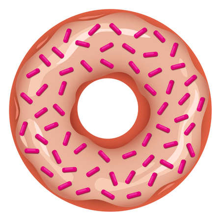 Vector donut with glaze and pink sprinkles Çizim