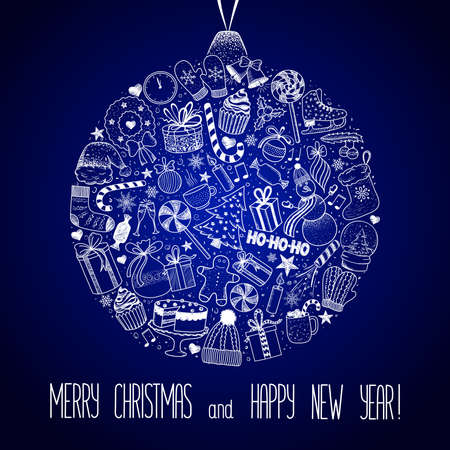 Christmas and New Year - sketch doodle set. Various hand-drawn items arranged as ball on a blue background. Vector illustration with lettering Çizim