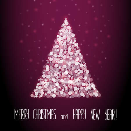 Abstract Christmas tree from lights bokeh. Christmas and New Year vector illustration with lettering. Eps 10