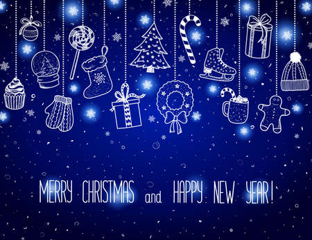 Christmas and New Year - sketch doodle set. Various hand-drawn items hanging on a blue background. Vector illustration with lettering. Eps 10