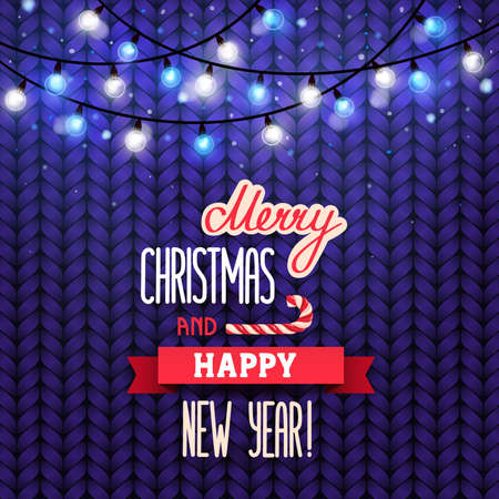 Card Merry Christmas and Happy New Year. Christmas garland with lights and lettering on a purple knit sweater background. Vector illustration, eps 10.