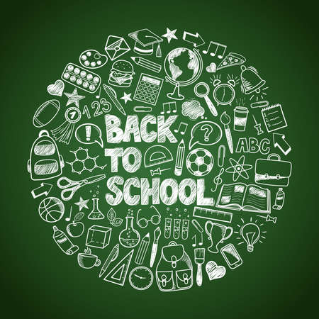 Back to School - sketch doodle set. Various hand-drawn school items arranged as circle on a green background blackboard. Vector illustration