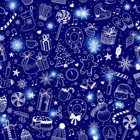 Christmas and New Year - sketch doodle pattern. Various hand-drawn items on a blue background. Vector illustration eps 10