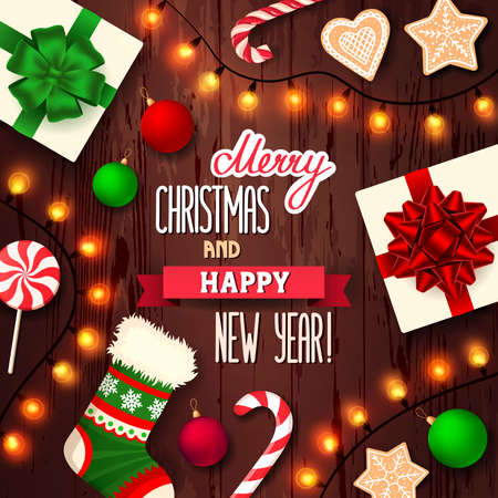 Merry Christmas and Happy New Year card. Christmas items on a brown wooden background. Vector illustration, eps 10.