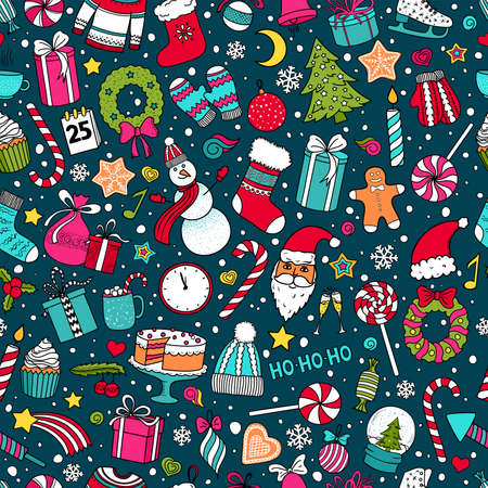 Colorful vector sketch doodle seamless pattern of Christmas and New Year. Various hand-drawn items on a turquoise background. Çizim