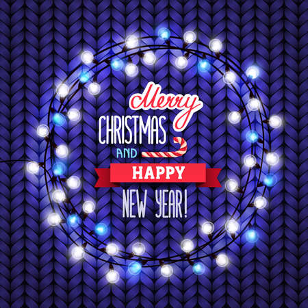 Card Merry Christmas and Happy New Year. Christmas garland with lights arranged in a circle and lettering on a blue knitted sweater wooden background. Vector illustration, eps 10. Çizim