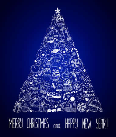 Christmas and New Year - sketch doodle set. Various hand-drawn items arranged as tree on a blue background. Vector illustration with lettering Çizim