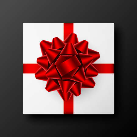 White square gift box with red ribbon and bow on a dark gray background. Vector illustration, eps 10.