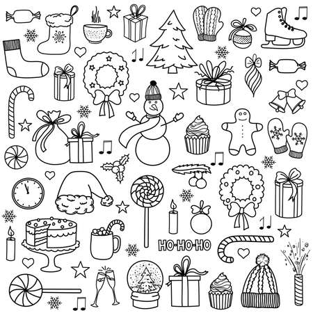 Christmas and New Year hand-drawn sketch doodle set. Vector illustration