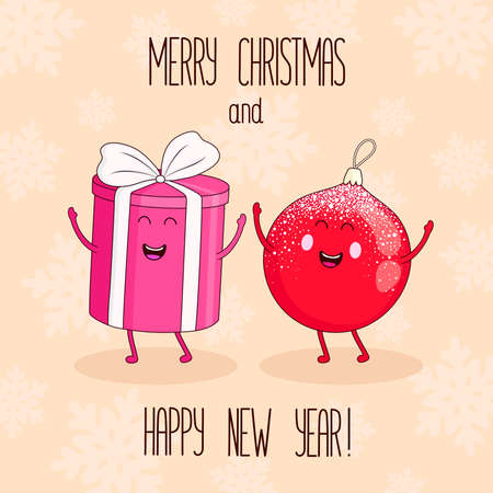 Christmas and New Year characters pink gift and red ball. Vector illustration with lettering