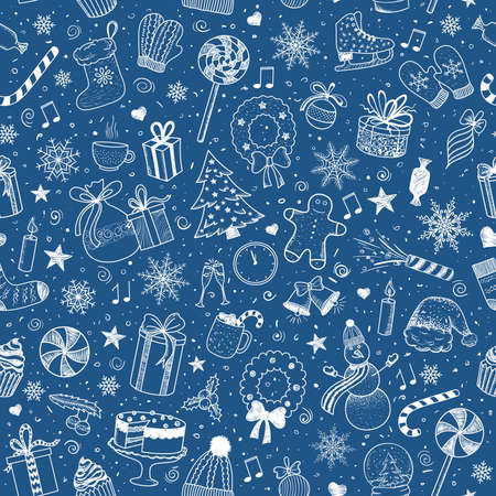 Christmas and New Year - sketch doodle pattern. Various hand-drawn items on a blue background. Vector illustration Illusztráció