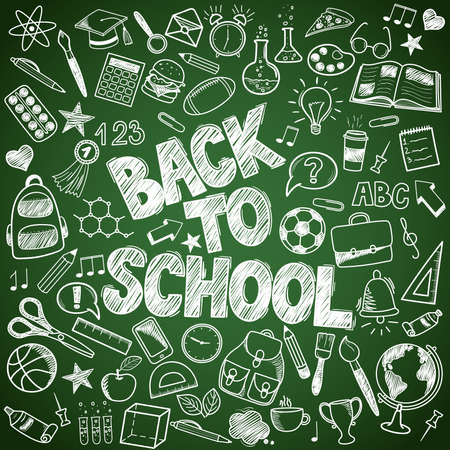 Back to School - sketch doodle set. Various hand-drawn school items on a green background blackboard. Vector illustration